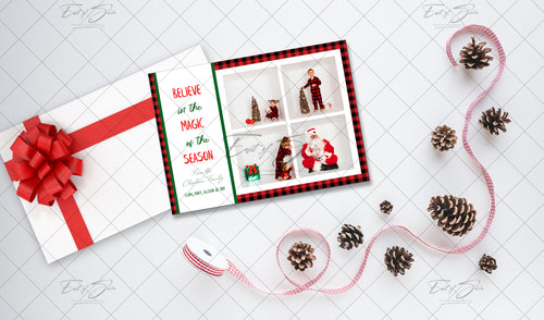 Christmas Card Flat Lay - Ribbon & Pinecones
