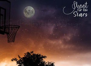 "Silhouette Basketball ""Shoot for the Stars"" Digital Template"