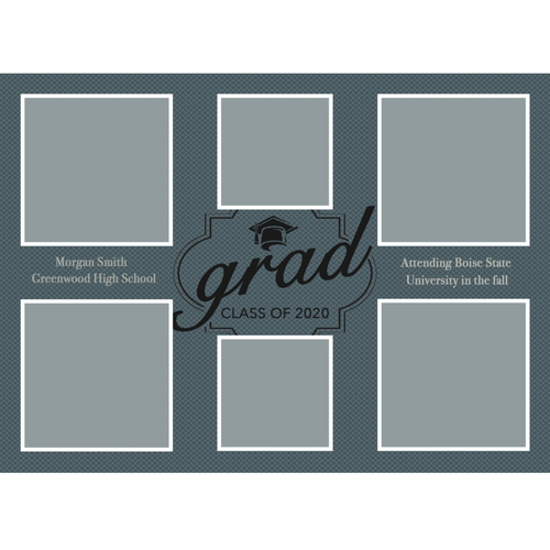 Blue/Grey 2020 Graduations Announcements 5x7 Card Size