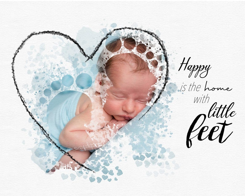 Two feet - newborn - watercolor template