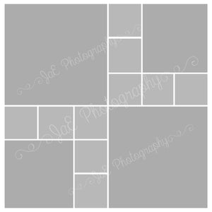 2 large , 2 medium and 10 small box White grid Template