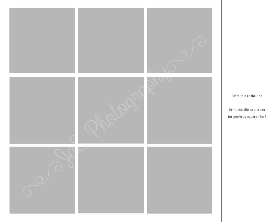 9 box White grid Template formatted for a 16x20