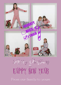 Naughty or Nice Christmas Card - Customizable Template for your photos