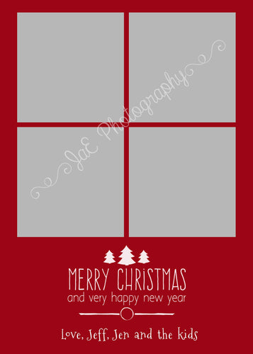Christmas Card  Merry Christmas-  for 5x7