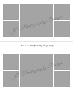 1 large 4 small box White Grid template - various canvas sizes including one for social media