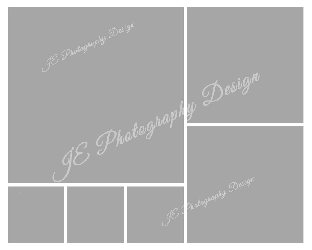 1 lg, 2 medium and 3 small White box Grid template