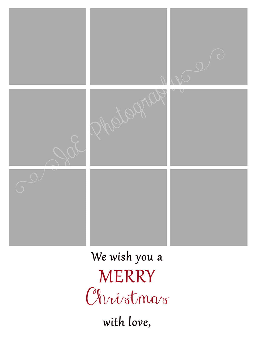 Christmas Card 9 Box Template for a 5x7