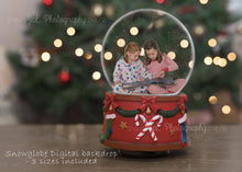 Load image into Gallery viewer, Christmas Snowglobe Digital Backdrop - Landscape and Portrait