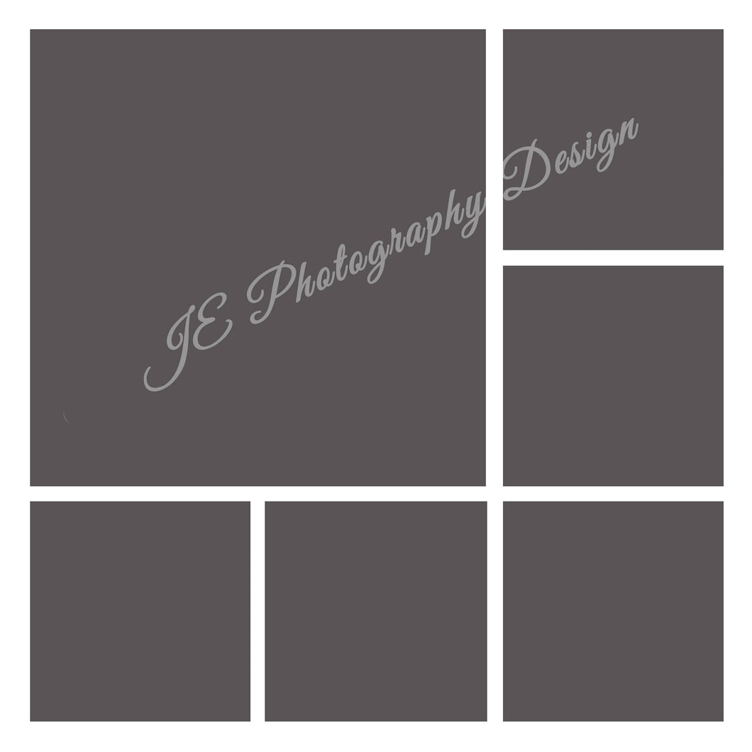1 large and 5 small boxes White Grid Template