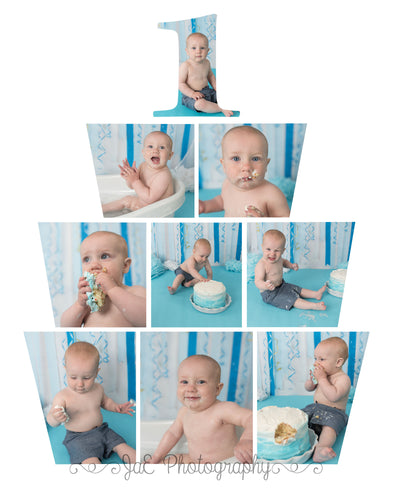 Cake Smash Birthday Cake Template -  includes 4 template sizes