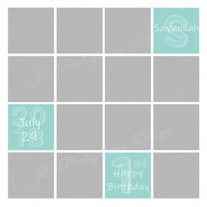 Cake Smash Photo templates- 16 & 13 boxes  with and w/o rounded corners