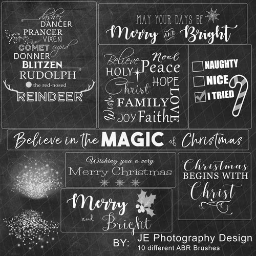 Christmas Photoshop ABR Brushes - 10 brushes and 1 PNG