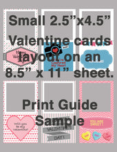 "Load image into Gallery viewer, 6 Valentine Photo Cards 2.5"" x 4.5"""