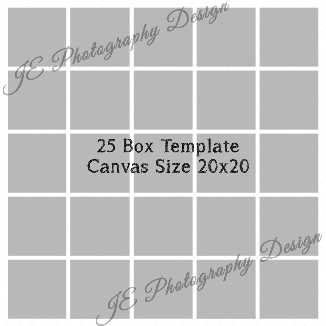 25 Box White grid Template