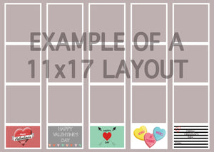"Valentine Photo Strips Template Large Size 10.6"" x 3.0"""