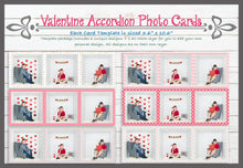 "Load image into Gallery viewer, Valentine Accordion Card Photoshop Templates 10.6"" x 3.6"""