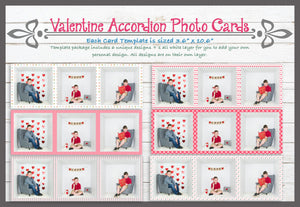 "Valentine Accordion Card Photoshop Templates 10.6"" x 3.6"""