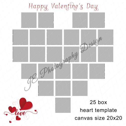 Valentine's Heart White Grid Template - 25 Box