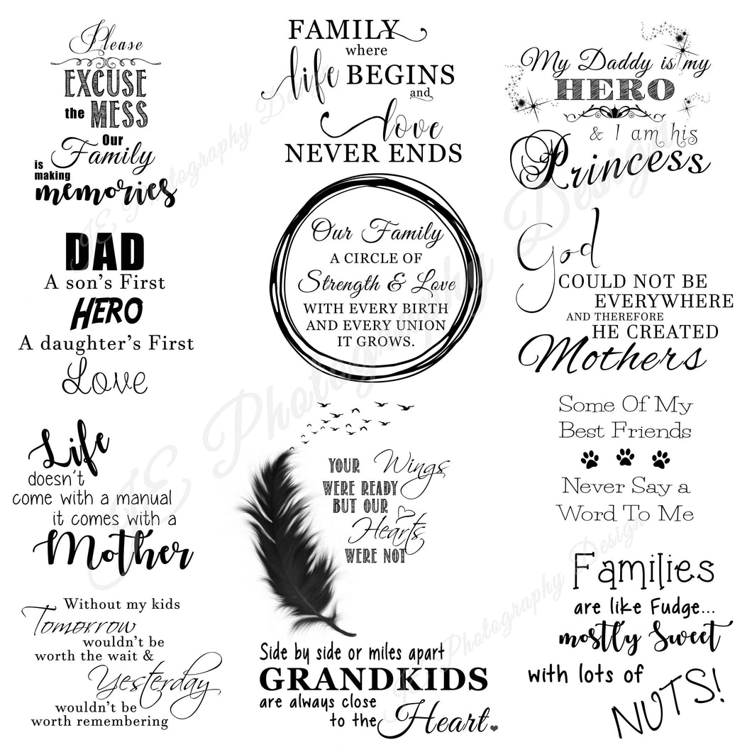 Photoshop Brushes - Family sayings for all occasions - In the Box Photography