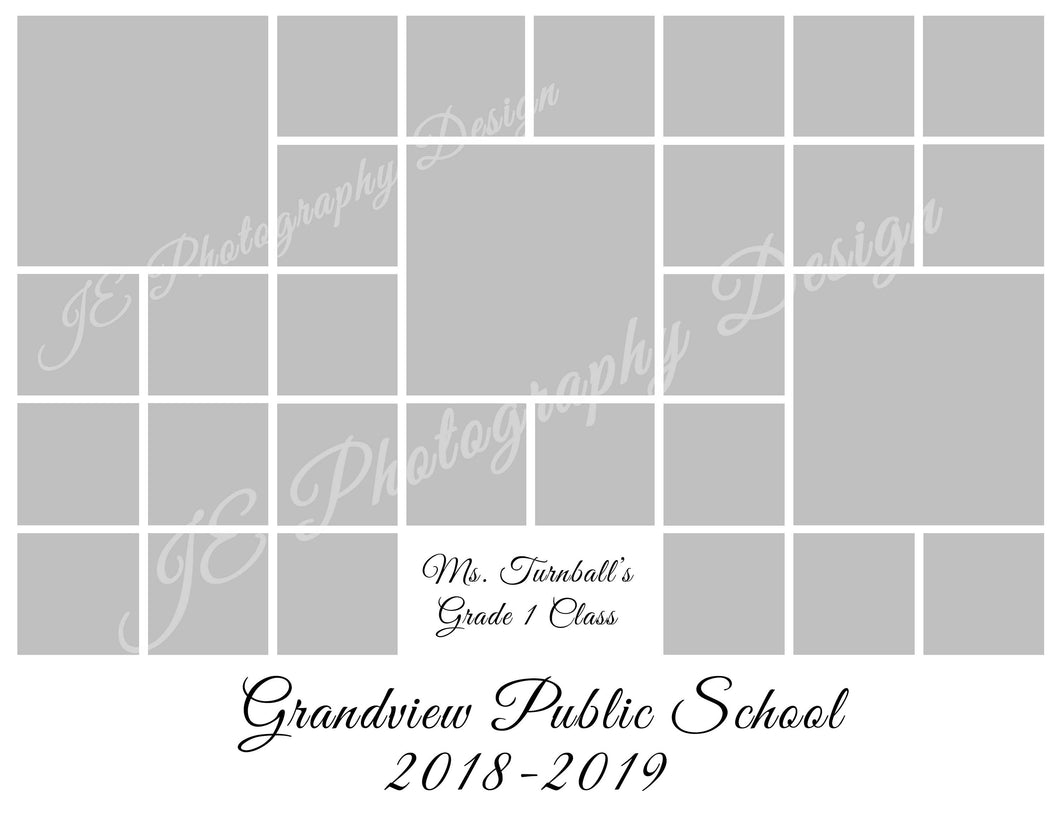3 large and 26 small boxes White Grid Template
