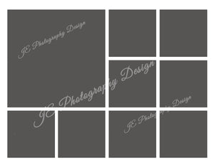 1 large, 8 small boxes In the Box White Grid template