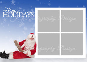 Happy Holidays with Santa Christmas Card  includes 4 and 6 Box Template - BONUS PNG Santa