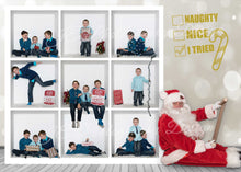 Load image into Gallery viewer, Naughty or Nice with Santa Christmas Card-  includes the 9 and 4 Box Templates - BONUS PNG Santa