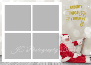 Naughty or Nice with Santa Christmas Card-  includes the 9 and 4 Box Templates - BONUS PNG Santa