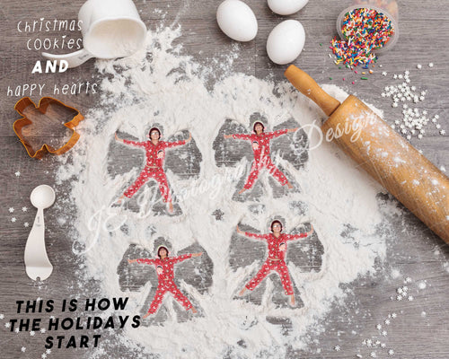 Christmas Cookie Snow Angels - Digital backdrop ( various sizes and number of angels)