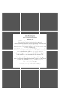 12 Box White Grid template -  4 different canvas sizes