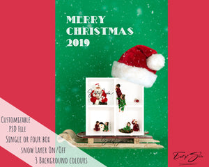 Single or 4 Box  Santa Hat and Sleigh Template