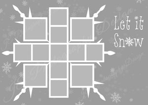 Snowflake White grid Christmas Template