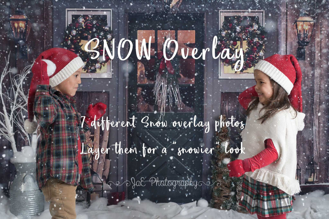 Falling Winter Snow overlay - 7 styles of snow overlays .PNG files