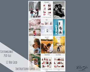 Photography Year Long Planner Grid - 12 Box Collage for Facebook
