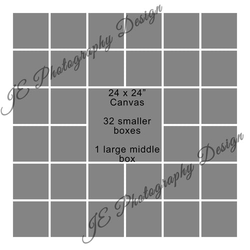 1 large 32 small box White Grid template