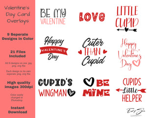 Valentine's Day Colour Word Art Overlays