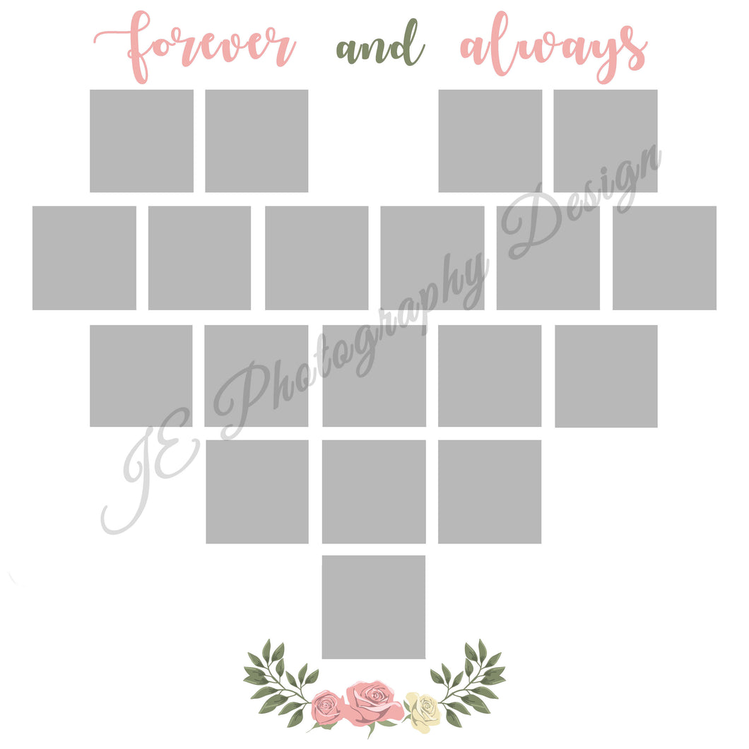 Valentine's Heart White Grid Template - 2 Styles Included