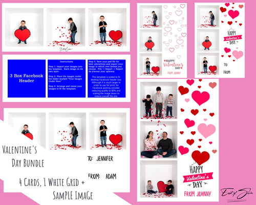 Valentine's Day Bundle - 4 Card Designs, 3 Box Face Header & Free to Use Image