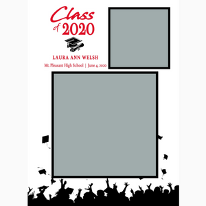 Red & White 2020 Graduations Announcements 5x7 Card Size
