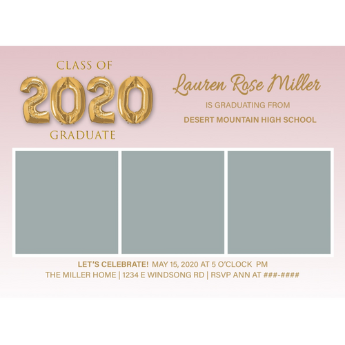 Rose/Gold 3 Box 2020 Graduations Announcements 5x7 Card Size