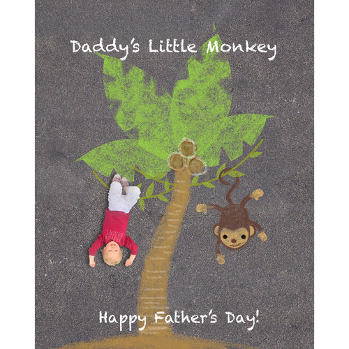 Father's Day Monkey Sidewalk Chalk Digital Backdrop