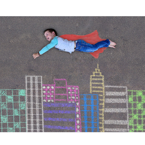 Superman Sidewalk Chalk Digital Backdrop