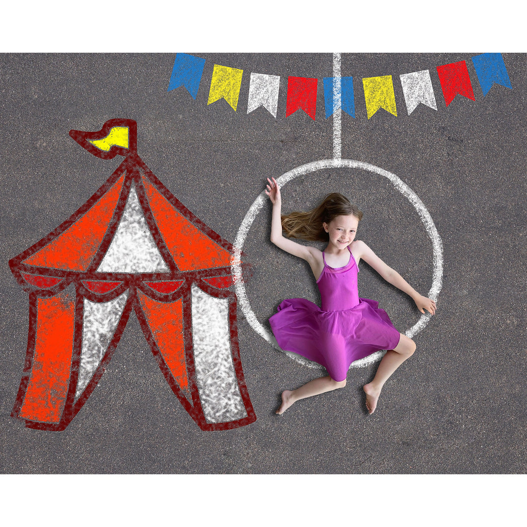 Sidewalk Chalk Circus Theme Background