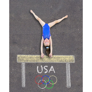 Gymnast Sidewalk Chalk Digital Backdrop