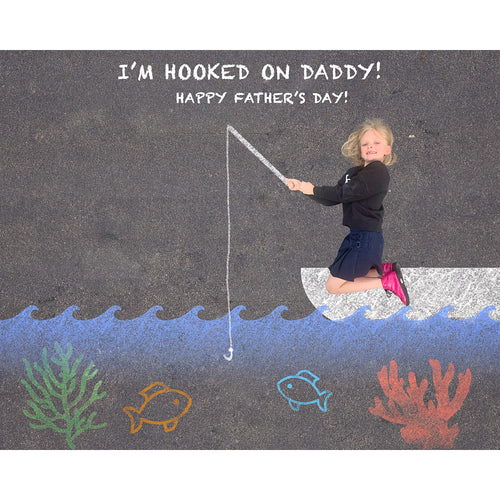 Hooked on Daddy Sidewalk Chalk Digital Backdrop