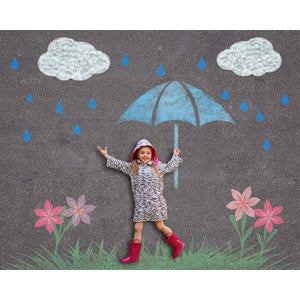 Sidewalk Chalk Rainy Day Theme Background