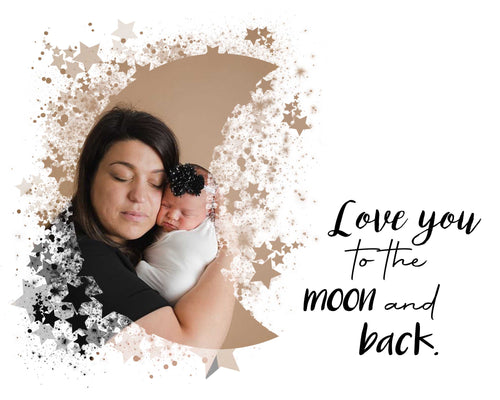 Love you to the Moon and Back - watercolor template