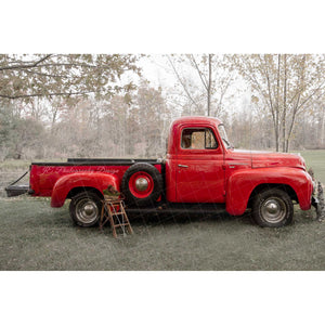 Vintage Red Truck -Side of International Harvester - Digital backdrop #2