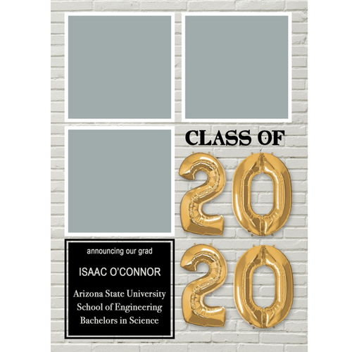 3 Box White Brick 2020 Graduations Announcements 5x7 Card Size