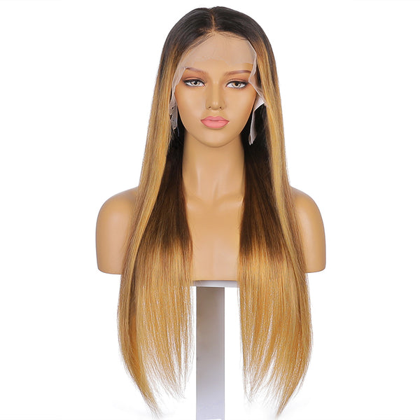 Hannah | 24''Black With Blonde Highlight Pre Plucked Ombre Color 13x4 Lace Front Human Hair Wig 150% Density